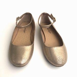 Girls Gold Shimmer Flats